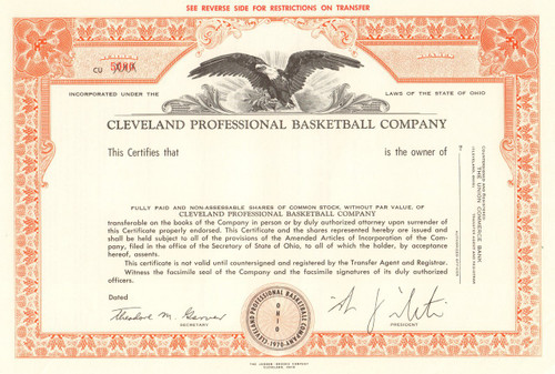 Cleveland Professional Basketball Company League Inc. stock certificate 1970 (NBA Cavaliers) - orange