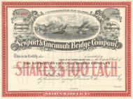 Newport and Cincinnati Bridge Company stock certificate circa 1868