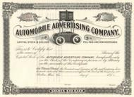 Automobile Advertising Company stock certificate circa 1899 (Maine)