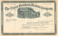 Great Southern Marble Company stock certificate circa 1884 (Tennessee)