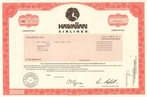 Hawaiian Airlines stock certificate 2001