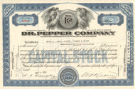 Dr Pepper Company stock certificate 1950