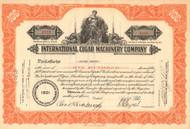 International Cigar Machinery Company stock certificate 1937