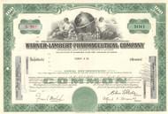 Warner-Lambert Pharmaceutical Company stock certificate 1960's (drug maker)