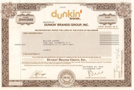Dunkin Brands Group stock certificate 2013 (coffee and donuts)