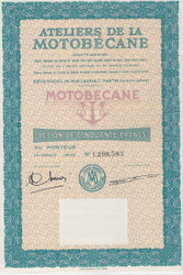 Motobecane bond certificate - France