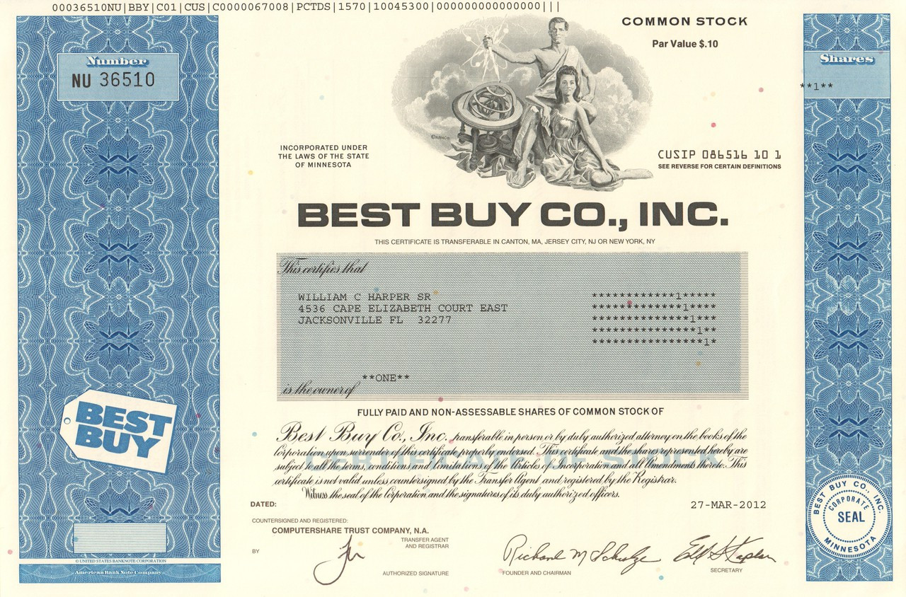 Best Buy Co Inc Stock Certificate 2012 Consumer Electronics