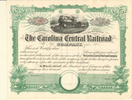 Carolina Central Railroad stock certificate circa 1873