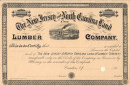 New Jersey and North Carolina Land and Lumber Company stock certificate circa 1887