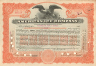 American Ice Company stock certificate 1920's - orange