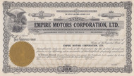 Empire Motors stock certificate