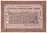 International Mercantile Marine Company stock certificate (owned the Titanic) - issued