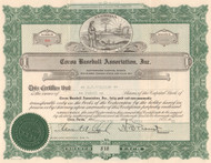 Cocoa Baseball Association Inc. stock certificate 1941 (Cocoa Fliers)