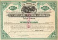 Jersey Shore, Pine Creek, and Buffalo Railway Company  stock certificate circa 1882.