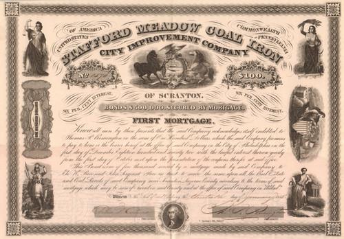 Stafford Meadow Coal Iron City Improvement Company bond 1858 (Scranton PA)