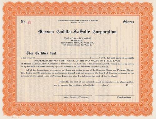 Maxson Cadillac-LaSalle stock certificate
