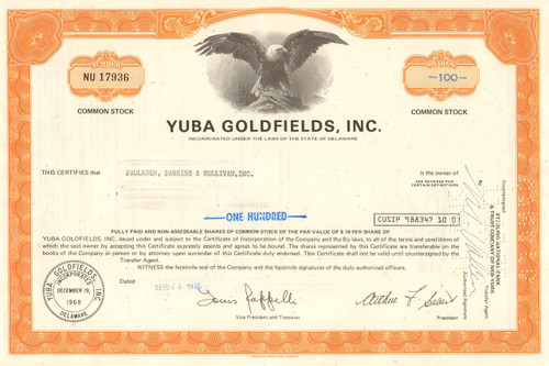 Yuba Goldfields, Inc. stock certificate 1975