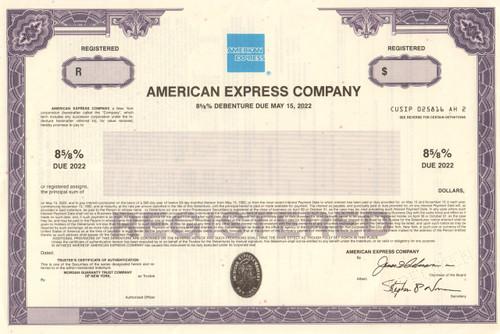 American Express Company bond certificate specimen 1992