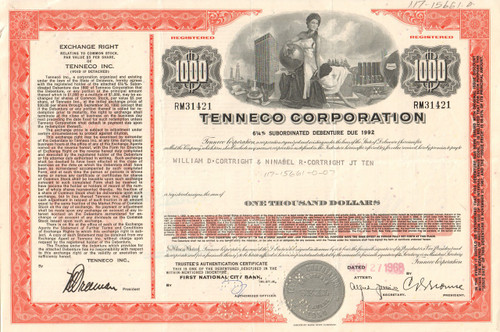 Tenneco Corporation bond certificate 1960-1970's (petroleum) - red