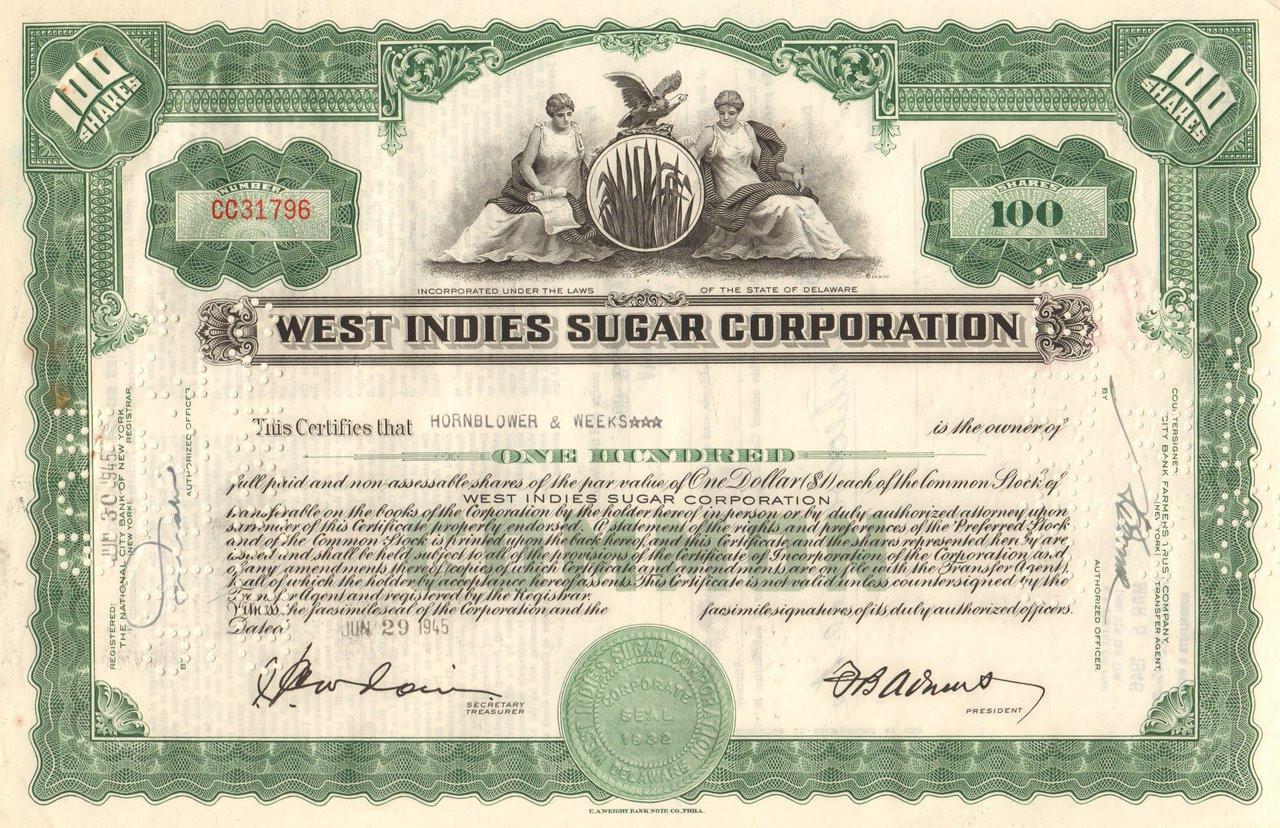 West Indies Sugar Corporation Stock Certificate 1960s