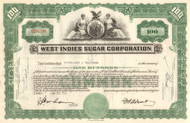 West Indies Sugar Corporation stock certificate 1960's - green