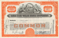 United Cigar-Whelan Stores Corporation stock certificate 1940's (tobacco) - orange