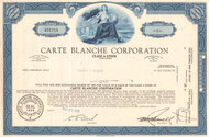 Carte Blanche Corporation stock certificate 1966 (credit cards)