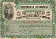 Frankford and Southwark Passenger Railroad Company stock certificate 1908 (Philadelphia)