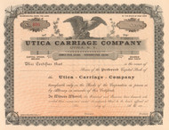 Utica Carriage Company stock certificate circa 1893 (early coach works)