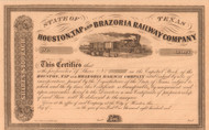 Houston Tap and Brazoria Railway Company stock certificate circa 1856 (Texas)