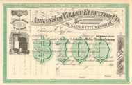 Arkansas Valley Elevator Co. stock certificate circa 1875 (Kansas City MO)
