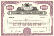 Paramount Pictures Corporation stock certificate (movie studio)  - lavender