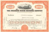 American Sugar Refining Company stock certificate 1961 (one time sugar monopoly)