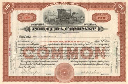 Cuba Company stock certificate 1923 (railroad and sugar)