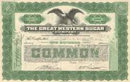 Great Western Sugar Company stock certificate 1920's (sugar beets)