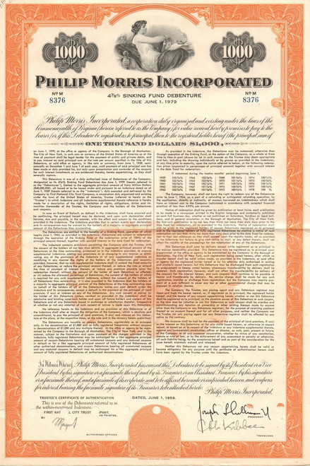 Philip Morris Incorporated $1000 bond certificate 1959 (tobacco)