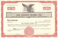 Los Angeles Sharks stock certificate 1970's (hockey)