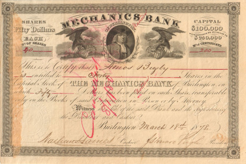 Mechanics Bank of Burlington stock certificate 1878 (New Jersey)