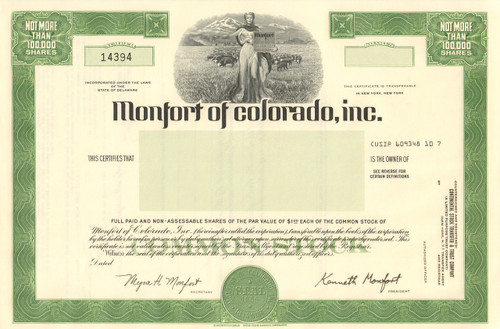 Monfort of Colorado Inc.  stock certificate circa 1970 (meat packing)