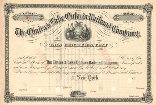 Elmira and Lake Ontario Railroad Company stock certificate circa 1886 (New York)
