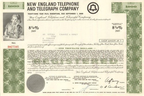 New England Telephone and Telegraph Company $1000 bond certificate 1970's
