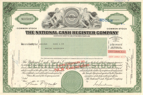 National Cash Register Company stock certificate 1970's (NCR)