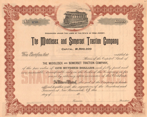 Middlesex and Somerset Traction Company stock certificate circa 1900 (New Jersey)
