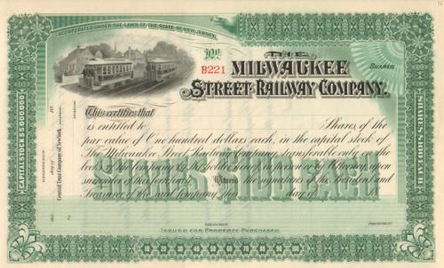Milwaukee Street Railway Company stock certificate circa 1890 (Wisconsin)