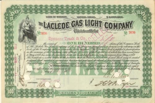 Laclede Gas Light Company stock certificate 1900's (Missouri)