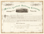 Maine Central Railroad Company stock scrip certificate 1870's
