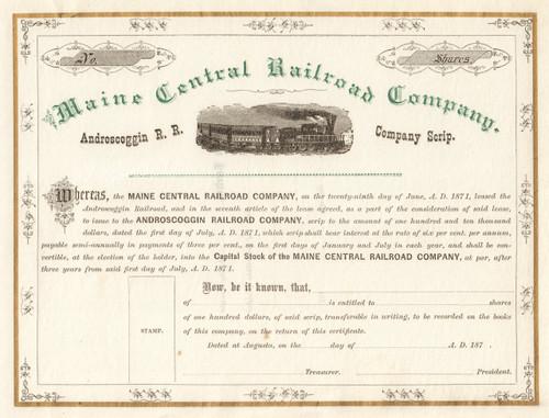 Maine Central Railroad Company stock scrip certificate 1870's