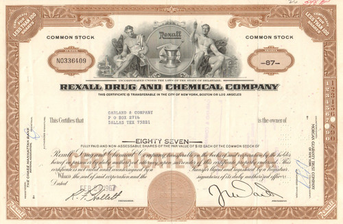 Rexall Drug and Chemical Company stock certificate 1960's (drug store chain)