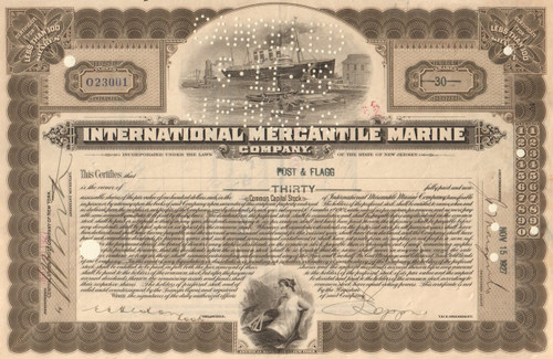 International Mercantile Marine Company stock certificate 1920's (owned the Titanic)