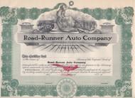 Road-Runner Auto Company 1908 stock certificate